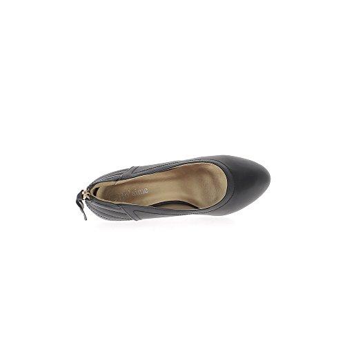 À Talon Cuir 5cm Compensées 7 De Chaussmoi Coutures Noires Aspect Femme wIgUxAqt4