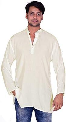Lakkar Haveli Indian 100/% Cotton Men/'s Loose Fit Shirt Kurta Check Print Grey Color