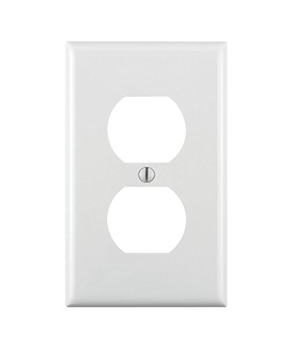 Leviton 80703-W 1-Gang Duplex Device Receptacle Wallplate, Standard Size, Thermoplastic Nylon, Device Mount, Pack of 5, White
