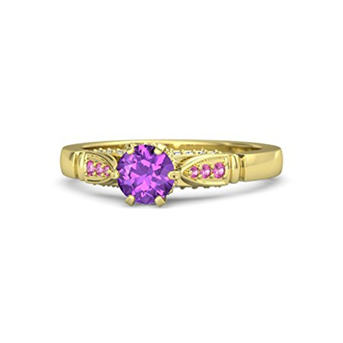 14K Yellow Gold Finish Multi-Color Stone Beautiful Solitaire Engagement & Wedding Ring