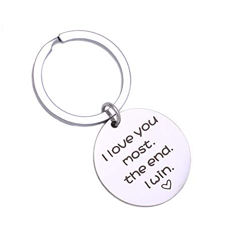 I Love You Most The End I Win, Stainless Steel Key Chain, Gift for Couple, Style 5