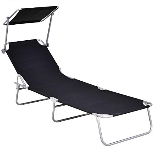 Stark Item Sun Lounge Bed Chair Beach Recliner Garden Patio Pool Seat Back Relaxer Foldable (Me Near Beach Umbrella)