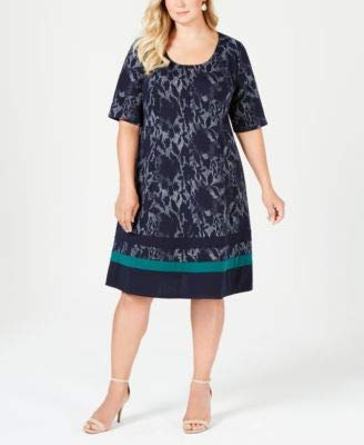 Signature by Robbie Bee Womens Plus Jacquard A-line Casual Dress Navy - Signature Jacquard