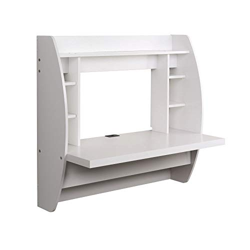 Prountet Home Office Computer Desk Table Floating Wall Mount Desk W/Storage Shelves White by Prountet (Image #3)