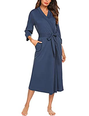 MAXMODA Cotton Robe Soft Kimono Spa Knit Bathrobe Lightweight Long Sleepwear Nightwear S-XXL