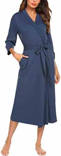 0c1ff7d572 MAXMODA Women Kimono Robes Cotton Lightweight Long Robe Knit Bathrobe Soft  Sleepwear V-Neck Ladies