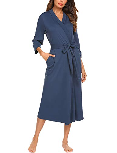 MAXMODA Women Sleep Robe Shawl Collar Wrap 3/4 Sleeve Bathrobe Sleepwear With Belt Cotton Sleepwear(Navy Blue, -