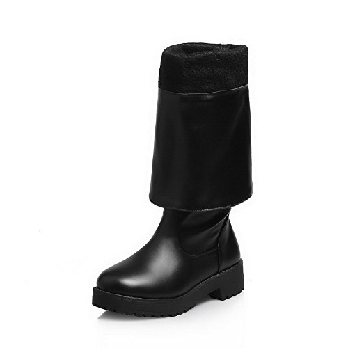 Black Low AgooLar Toe on Women's High Heels Soft Boots Material top Closed Pull Round wqOAqR8