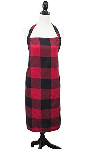 (Fennco Styles Buffalo Check Plaid Design Cotton Kitchen Full Size Apron (Red, 24