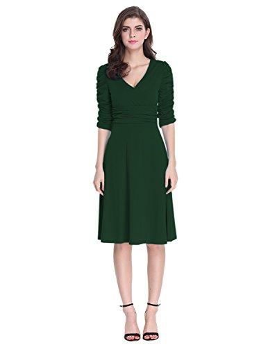 V-Neck Ruched Waist Dress - 6