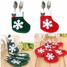 4pcs Christmas Snowflake Stockings Cutlery Decor Silverware Dinner Party