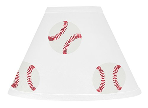 Sweet JoJo Designs Red and White Lamp Shade for Baseball Patch Sports Collection by Sweet Jojo Designs