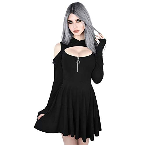 Wannafly Women's Fashion Cosplay Gothic Pure Color Hooded Low Cut Cold Shoulder Zippe Mini Dress for Christmas Halloween Easter Thanksgiving New Year]()