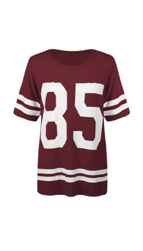Oversized Football/baseball '85' T-shirt/top (USA 6/8 (UK 8/10) S/M, Wine) Football Oversized T-shirt