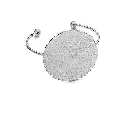 AOCHEE Geometric Circle Bangle Open Brushed Big Round Cuff Wire Bangle Punk Bracelet for Women Girls (Silver)