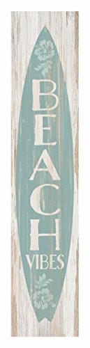 P Top Desk - P Graham Dunn Beach Vibes Surfboard Whitewash 1.5 x 7.5 Inch Wood Vertical Tabletop Block Sign