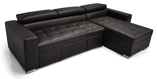 Divano letto angolare con chaise longue a destra divano 3 posti con penisola contenitore mod - Divano letto angolare ecopelle ...