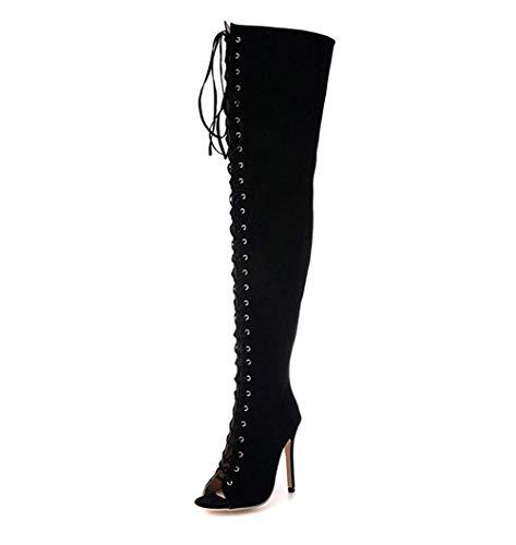 Knee Boots Ladies Suede Sed Eu Shoes Pierced Bandage Elegant 41 aTCwEEqf