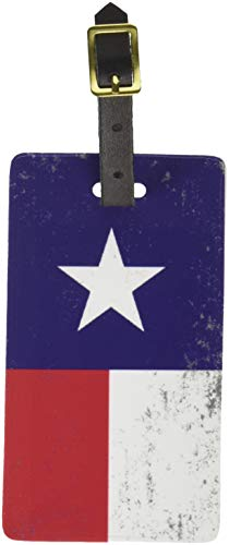 (Graphics & More Texas Flag Distressed Luggage Tags Suitcase Carry-on Id, White)