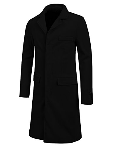 Mens Trench Coat Autumn Winter Long Jacket Overcoat(XS, Black) (Jacket Size Chart Mens compare prices)