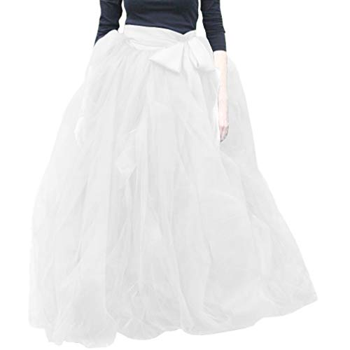 WDPL Women's A-Line Tulle Strips Ruffles Tutu Ball Gown Skirts (Small, White)