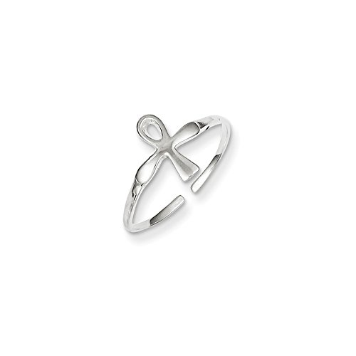 Sterling Silver Ankh (Egyptian Cross) Toe Ring by Nina's Jewelry Box