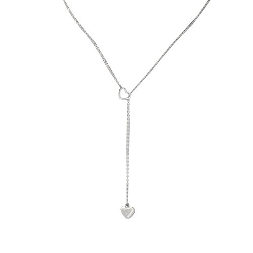 Women Charm Stainless Steel Love Heart Exquisite Pendant Chain Necklace (Silver) ()