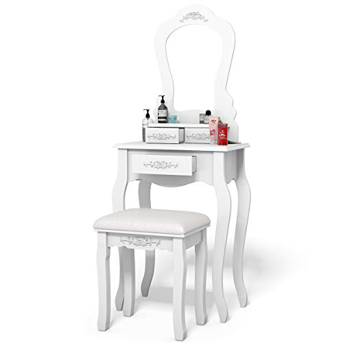 Giantex Vanity Wood Makeup Dressing Table Stool Set Bedroom with Mirror (White, 20.0
