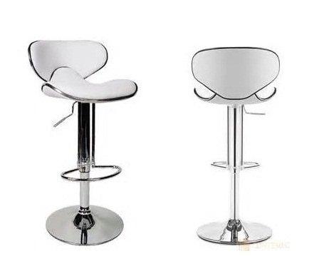 2 pcs Swivel Elegant PU Leather Modern Adjustable Bar Stool Chair Barstool (White) (Contemporary Amisco Metal)