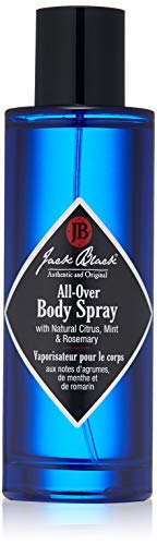 - Jack Black - All-Over Body Spray, 3.4 fl oz - Natural Citrus Aroma, Herbal Notes of Mint and Rosemary, Lightweight Fragrance