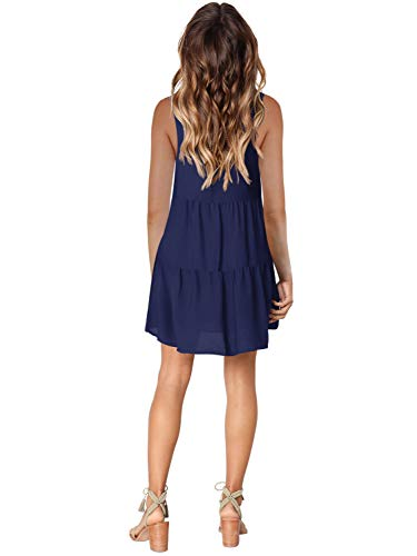 Amoretu Women Summer Tunic Dress V Neck Casual Loose Flowy Swing Shift Dresses