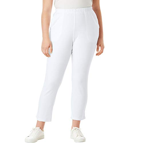 (Roamans Women's Plus Size Soft Knit Capri Pant - White, L)
