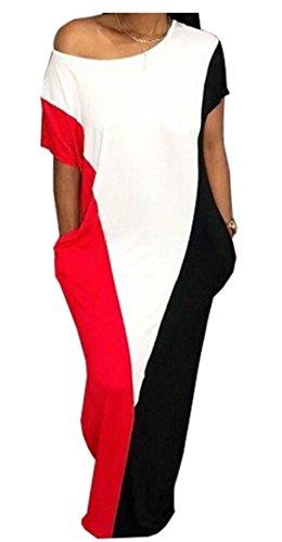 M&S&W Women's Summer Short Sleeve Color Block Pocket Shift Maxi Dress Red (Color Block Short Sleeve Dress)