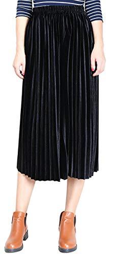 Jupe Femme Taille lasticit Velours Flared Couleur Midi BLACKMYTH Or Haute Unie Noir Avfgq
