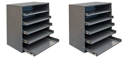 Durham 305B-95 Cold Rolled Steel Heavy Duty Triple Track Bearing Slide Rack for 5 Large Compartment Boxes, 375 lbs Capacity, 12-1/2'' Length x 20-1/2'' Width x 21'' Height, (2-(Pack))