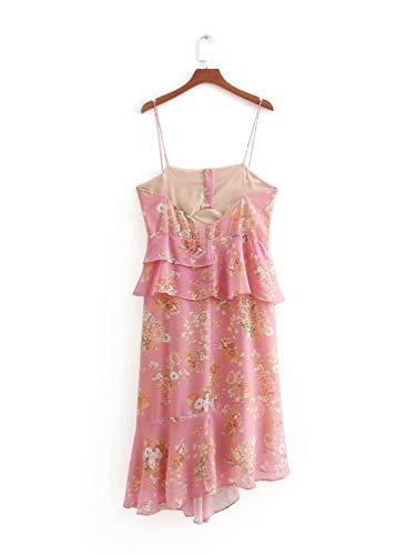 festa maniche Dress Fashion maniche Sling Vestito Irregular Abito senza Abito Rcdxing quotidiano senza da Vestito Dress Pink monopetto Abito BTqn64