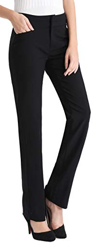Pants Dress Slacks - MOVING DEVICE Women's Dress Pant Wear to Work, Stretch Bootcut PantWomen's Dress Pant with Side Pockets, Straight Leg Pant Wear to Work, Zipper Closure Black