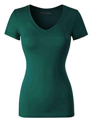 (Design by Olivia Women's Basic Solid Multi Colors Fitted Short Sleeve V-Neck T-Shirt [S-3XL] Deep Jungle L)