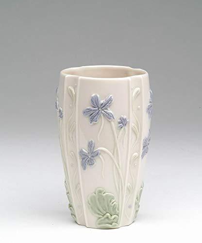 Cosmos Gifts Fine Porcelain Hand Painted Violet Flower Design Bud Vase, Makeup Brush Holder, Pen Holder, 4-5/8