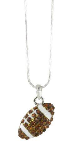 Small Football Rhinestone Pendant Necklace - Dark Topaz Crystal and White Enamel