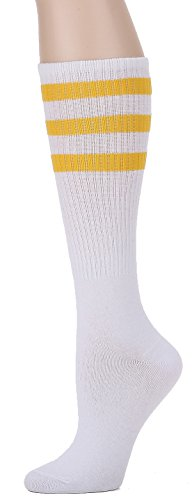 Leotruny Over the Calf Tube Socks (White/Yellow) One Size