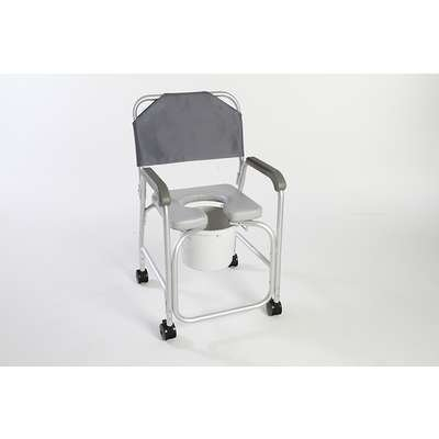 Cardinal Health CBAS0032 Commode Shower Chair with Back, Adjustable Casters, 10 qt. Bucket, Supports 375 lb
