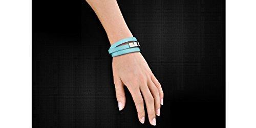 Ursul Bracelet femme en cuir et acier plaqué argent 925 U-Turn Triple, Turquoise, M