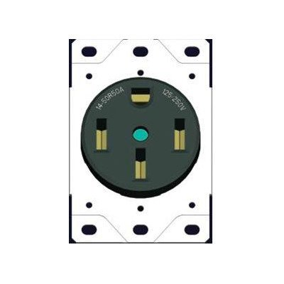 Morris 82526 Flush Range Receptacle, 50 Amp Current, Black (Receptacle Flush Range)