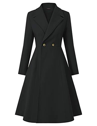 CURLBIUTY Women Wool Pea Coats Wrap Swing Winter Long Overcoat Jacket Black M