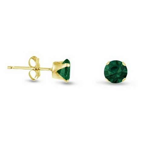 Campton Simulated Green Emerald Round Stud Earrings - Gold Plated Sterling Silver- May | Model ERRNGS - 13519 | - Emerald Earrings Crislu