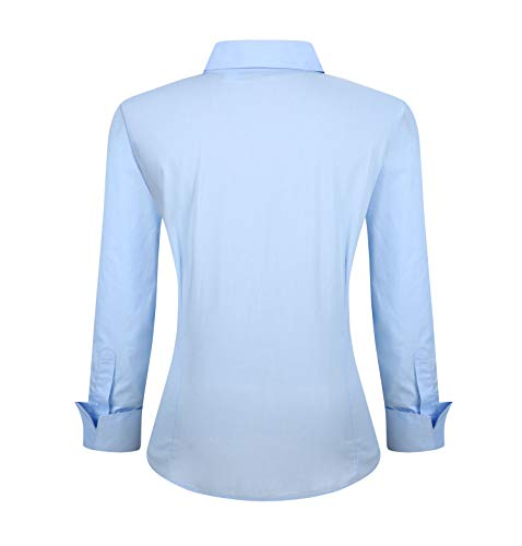 YCOOL Womens Button Down Shirts Long Sleeve Regular Fit Cotton Casual Blouse Top Blue L by YCOOL (Image #1)