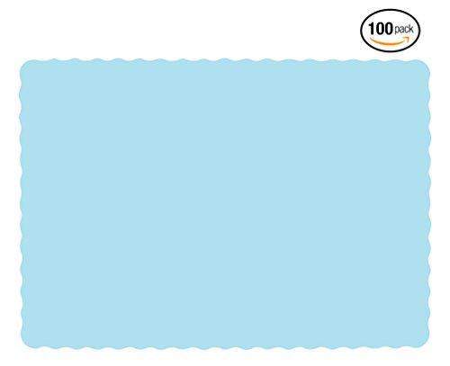 Premium Disposable Paper Placemats 10 x 14-20 Pound Bond Paper Scalloped Edge (100 Pack, Blue)