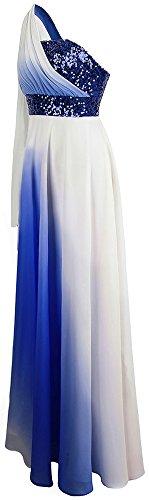 fashions De Lentejuelas Angel Vestido Gradiente Gasa Honor Cinta La Un Alinear Dama Hombro Armada Mujer Hww4xd