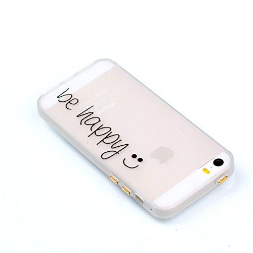 Voguecase Für Apple iPhone SE 5 5S 5G hülle, Schutzhülle / Case / Cover / Hülle / TPU Gel Skin mit Nachtleuchtende Funktion (be happy 08) + Gratis Universal Eingabestift